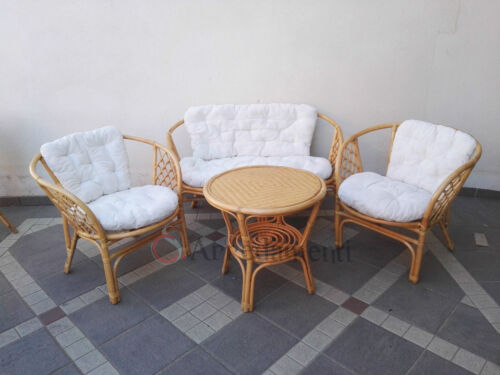 salotto rattan naturale da esterno giardino vimini salottino set salottino divan