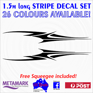 "1.5m ""WAVE"" STRIPE STRIPING marine decal sticker set.Boat,half cabin,tinny,ca<wbr/>r!"