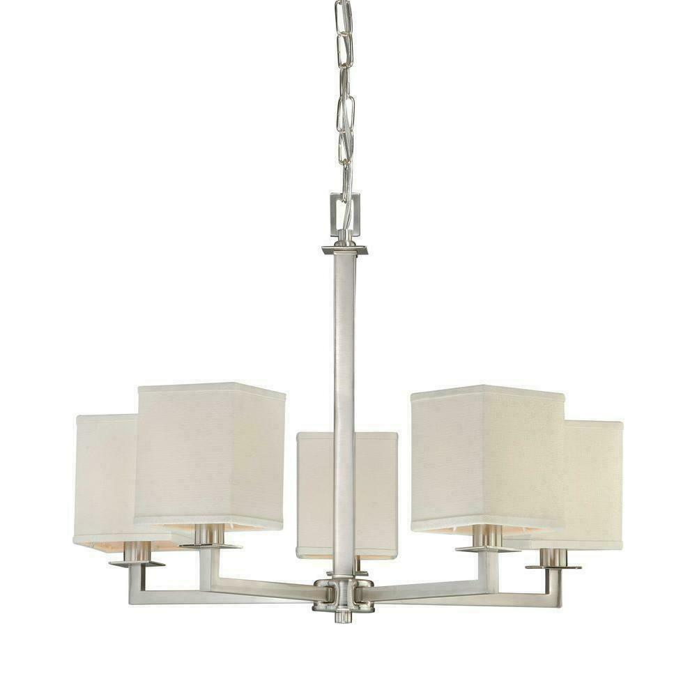 Hampton Bay 5 light Brushed Nickel Chandelier with White Fabric Shades