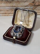 Phantastischer Art Deko Anhänger Silber 835, Blautopas,um 1930, Kette Silber 835