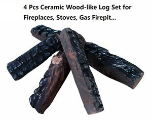 4 Pieces Gas Fireplace Ceramic Wood Like Logs For Ethanol