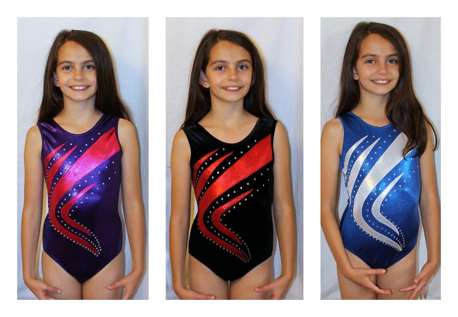 All Sizes Swoosh Girls Gymnastics Leotard with Crystals