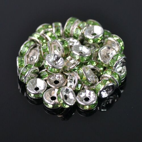 100pcs 6mm Silver Rondelle Czech Glass Crystal Rhinestones Metal Spacer Beads