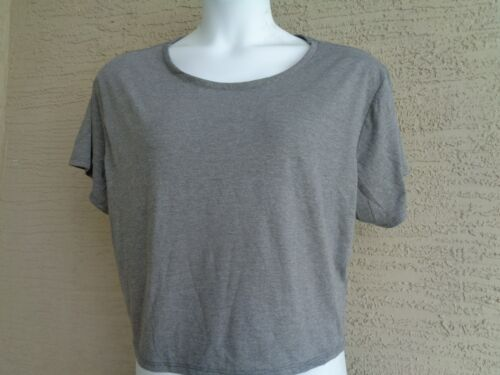 New DistRict Made Tri Blend Fabric S//S Crop Top Tee 3X  Gray