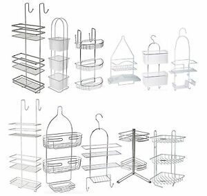 Image Is Loading Stylish Bath Shower Caddy Chrome Plastic Hanging Hook
