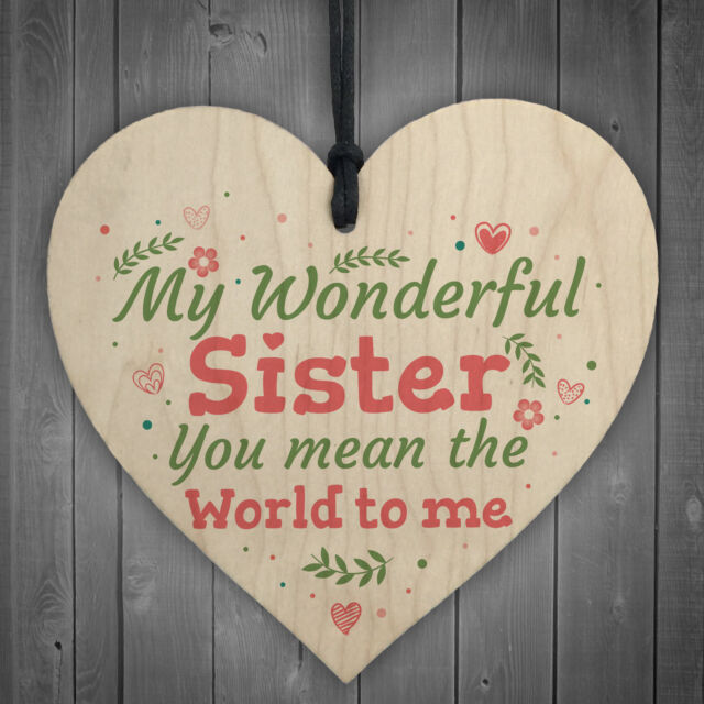 Wonderful Sister Friend Friendship Wooden Heart Plaque Sign Gift Love Family