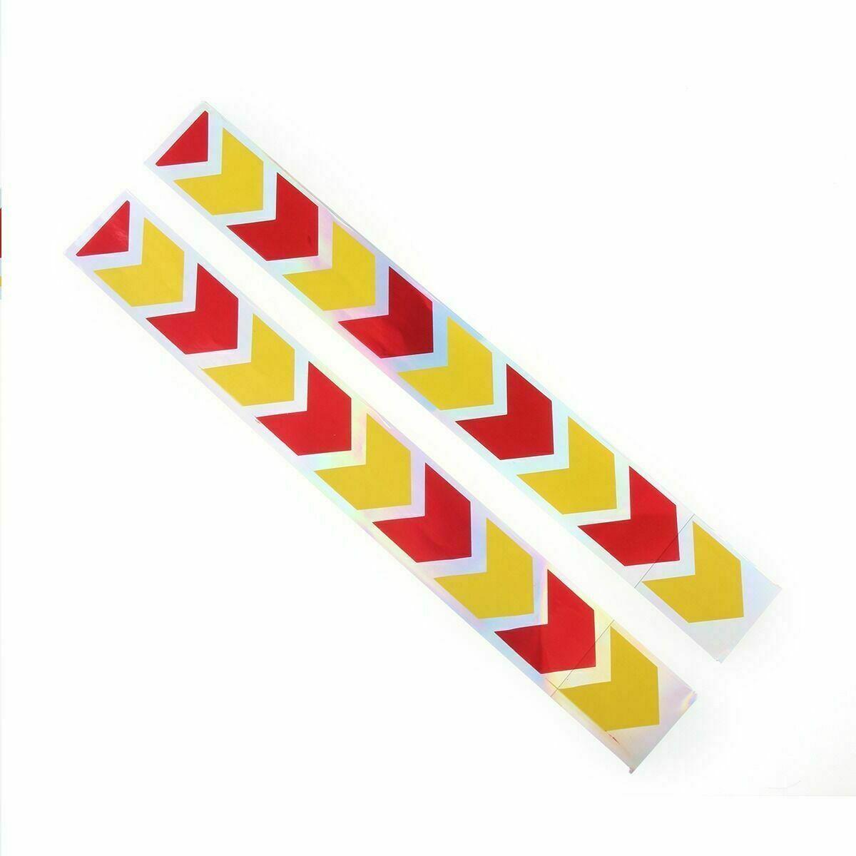 2pcs 40cm Car Auto Red Yellow Arrow Reflector Sticker Caution Warning Tape