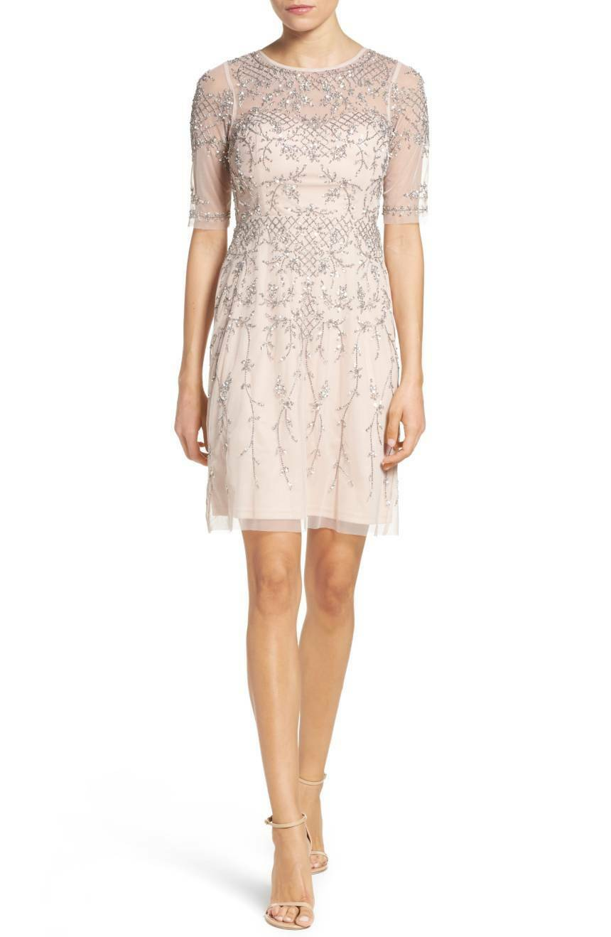 NWT Adrianna Papell Embellished 3 4 Sleeve Fit-Flare Dress Shell [SZ 2]  N738