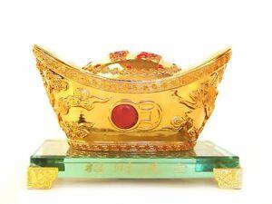 6-034-Golden-Feng-Shui-Ingot-with-Crystal-Base