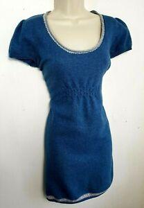 Jersey-de-punto-Vestido-Tunica-Mistral-UK-14-azul-de-manga-corta-80-lana-03-66