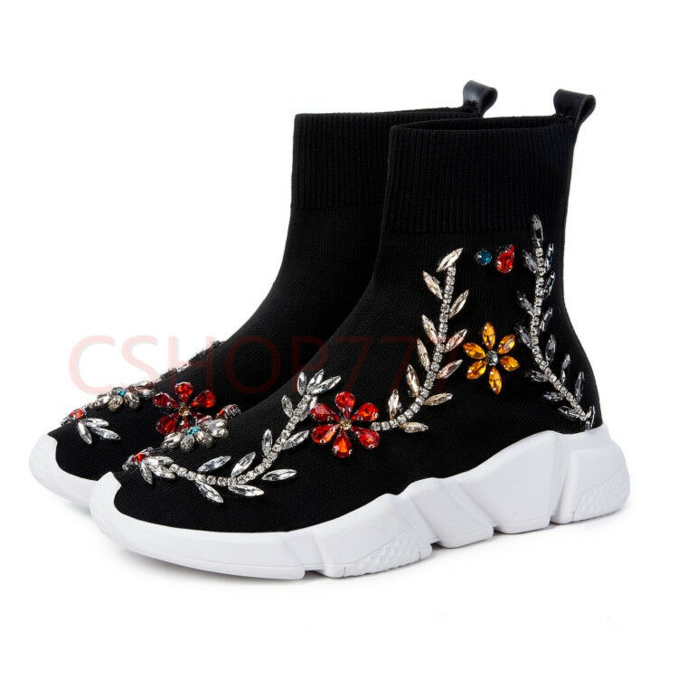 Womens Casual stylish pull on Rhinestones ankle high top Boots shoes New Flower