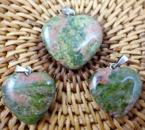 3PC-Unique-Unakite-Heart-shaped-pendant-Gem-necklace-earring-Jewelry-Making