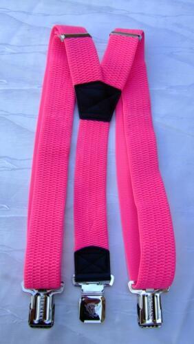 Bretelles Femmes hommes y forme 3 forte clips néon couleurs rose vert 4cm x 112cm