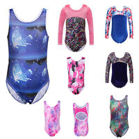 Youths Girls Gymnastic Leotards Sparkle Ballet Dance Unitards Cosutmes 3-12y