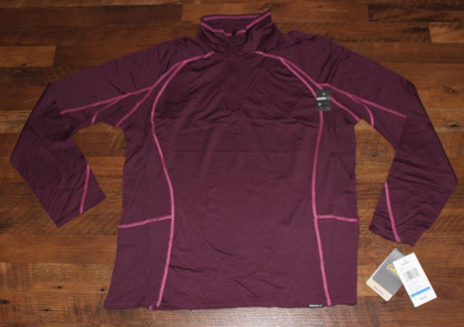 99 New CABELAS Ultimate Lightweight Merino  Wool Quarter Zip Top XL Womens Plum  a lot of concessions