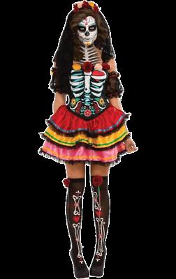 Womens Day Of The Dead Senorita Halloween Horror Fancy Dress Costume