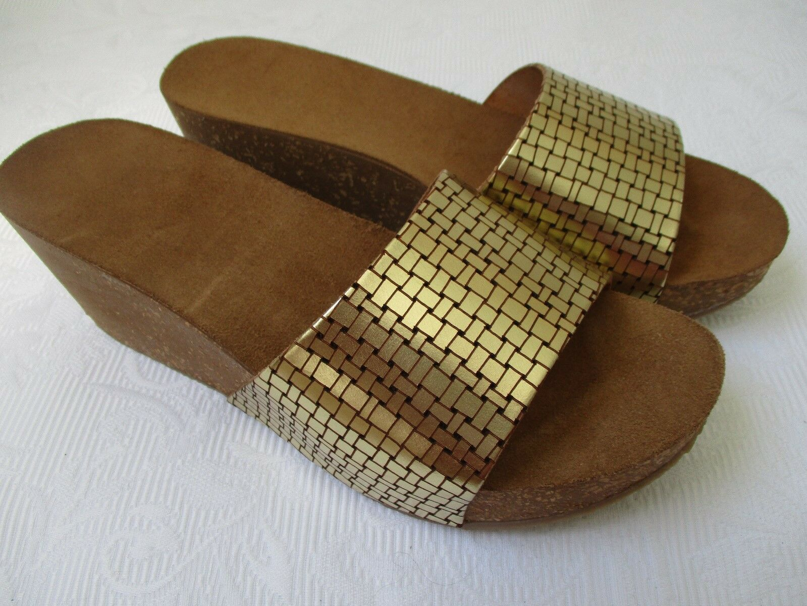 KENZIA PLATINO CORK SLIDES LEATHER SANDALS SIZE 39 - NEW