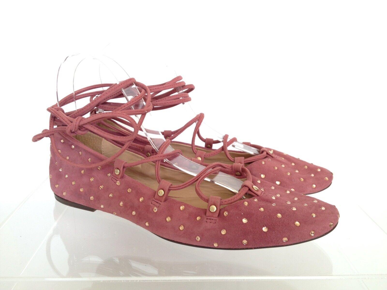 J.CREW Studded Suede Lace-up Ballet Flats 7 Pale Plum Pink e5043  228
