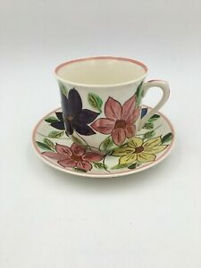 Blue-Ridge-Southern-Potteries-Hand-Painted-JUMBO-Cup-and-Saucer
