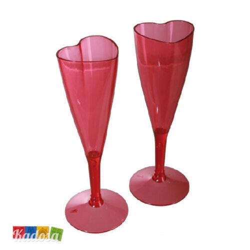 Spumante Champagne San Valentino Flute Coppia Calici a CUORE Rossi in Plastica