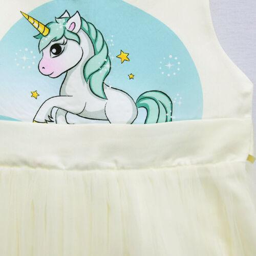 Flower Girls Unicorn Tutu Dress Princess Girls Birthday Party Dress Up ZG9
