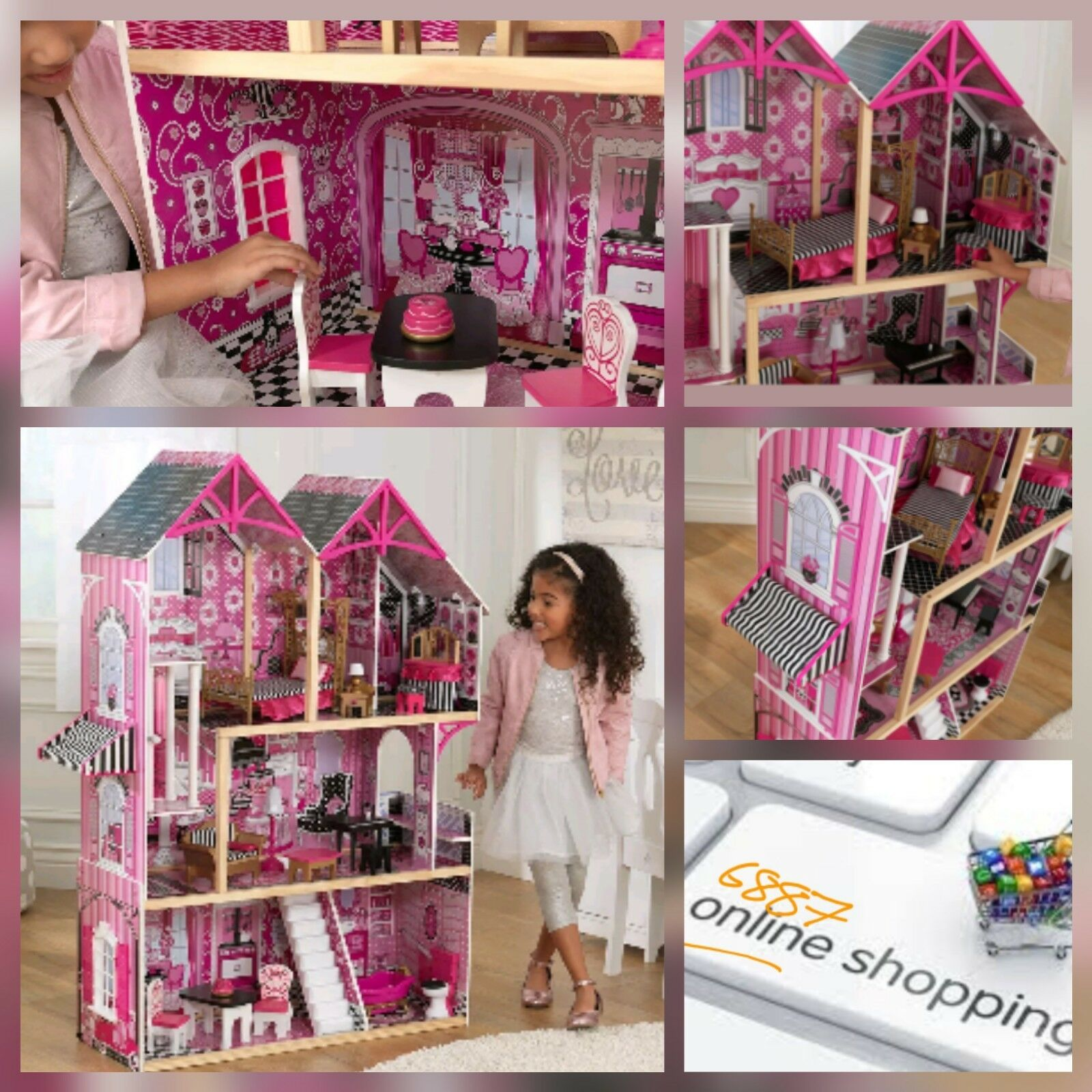 KIDKRAFT BELLA WOODEN KIDS DOLLS HOUSE & FURNITURE FITS BARBIES  Free postage