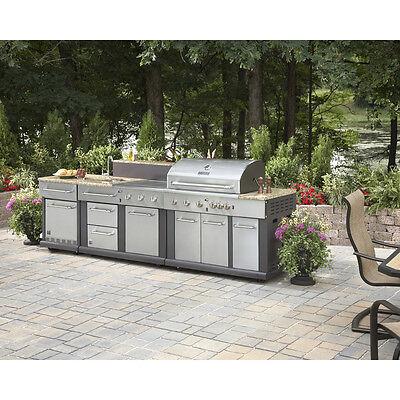 Huge Outdoor Kitchen Bbq Grill Sink Refrigerator Ice