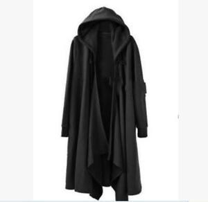 Men-039-s-Gothic-Long-Cloak-Cape-Coat-Loose-Parka-Jacket-Black-Punk-Trench-Outwear