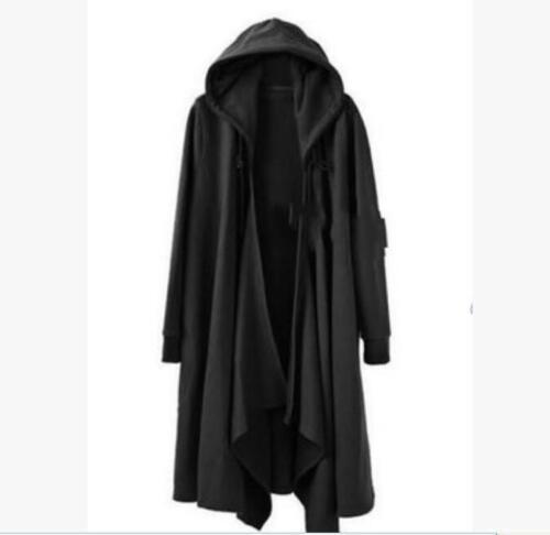 Men/'s Gothic Long manteau cape manteau lâche Parka Punk Noir Trench outwear