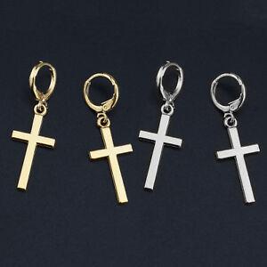 dbd92269a Men's Women's Stainless Steel Cross Drop Dangle Huggie Hinged Hoop ...