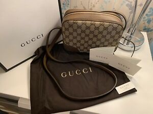436971ad8be3 Image is loading Authentic-Gucci-Beige-Canvas-Leather-GG-Crossbody-Purse-