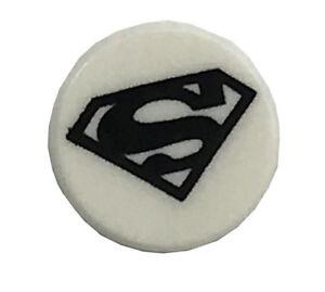 lego new white 1 x 1 dot round tile flat smooth with black superman