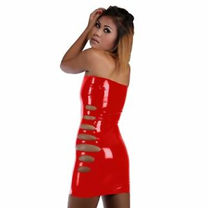 Red-Short-Latex-Rubber-With-Dress-Side-Openings-one-size