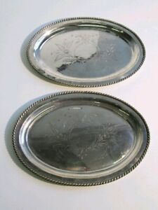 Couple-Antique-Dishes-Trays-Plated-Oval-Silver-And-Engraved-by-Hand-Xx-Century