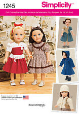 """Simplicity Pattern 1245 VINTAGE STYLE 18"""" DOLL CLOTHES dresses wardrobe"""