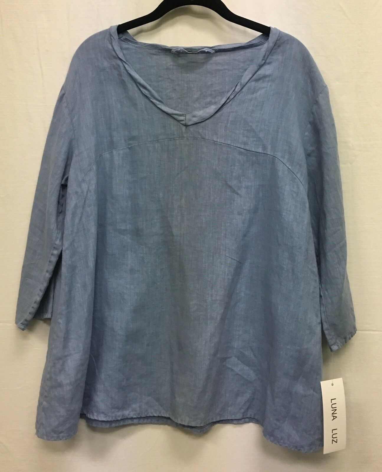 Luna Luz Linen V Neck Peasant Tunic Shirt 3 4 Sleeves Style 707 NEW with Tags