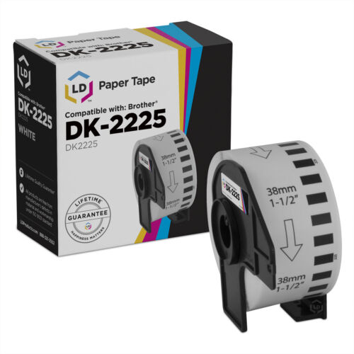 1.5 in x 100 ft LD Compatible Brother DK-2225 White Label Tape