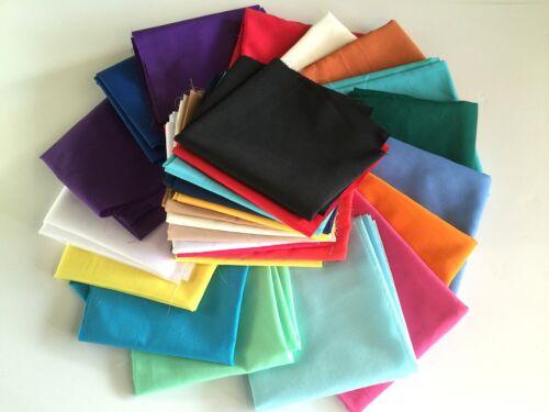 Pick From 1-100 * Random Plain Coloured Polycotton Fat Quarter Bundles Packs