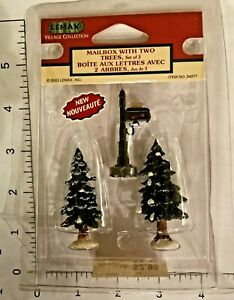 Lemax Christmas Village Collection Mailbox With Two Trees 34977 Retired 2003