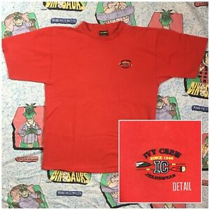 Vtg-IVY-CREW-JEANS-Embroidered-Rowing-Crest-L-XL-Single-Stitch-Red-T-shirt-90s