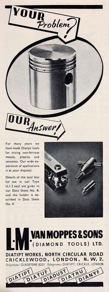 diamant holder, L. M. Van Moppes & Sons Diamond Tools