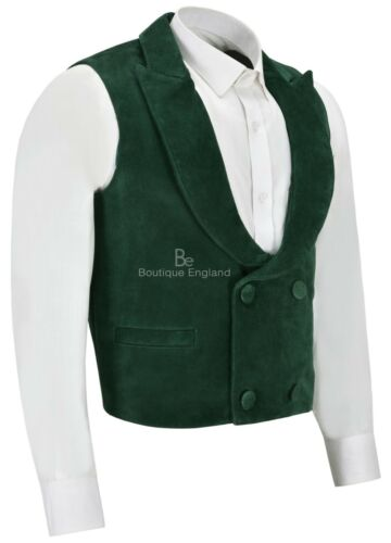 Mens /'EDWARDIAN/' Suede Leather Waistcoat GREENDOUBLE BREASTED REAL SUEDE 3281