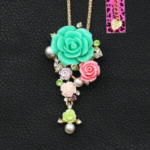 Betsey-Johnson-Resin-Crystal-Rose-Flower-Pendant-Women-039-s-Necklace-Brooch-Pin