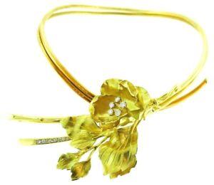 18K-Yellow-Gold-Diamond-Mechanical-Choker-Necklace-Flower-Brooch-Pin