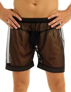 # Mens Underwear Boxer Briefs See-through Mesh Bikini Shorts Swimwear Pants