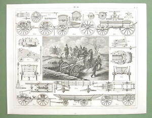 MILITARY-Carriages-Forges-Prussian-Artillery-1844-Original-Steel-Engraving