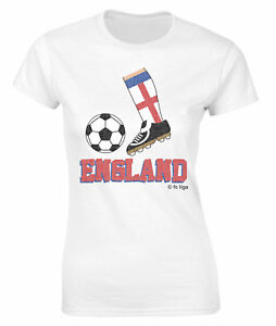 b898e0315 Ladies World Cup 2018 Football Boot T-Shirt ENGLAND Supporter Top | eBay
