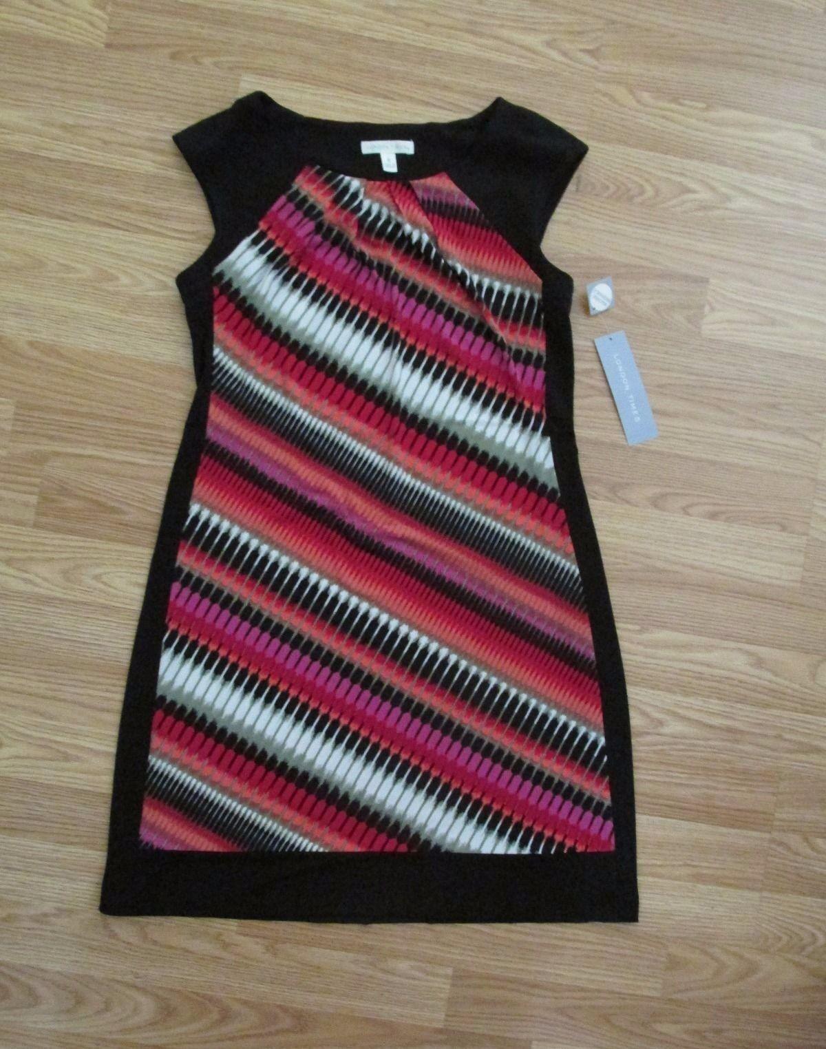 London Times Red Combo Shift Dress (size 8)