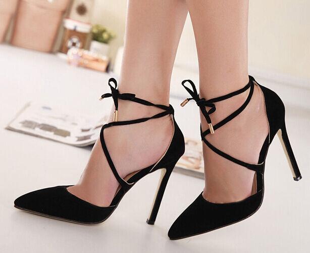 Décollte Zapatos zapatos de salón sandalias perno 10.5 cm tacón de aguja negro