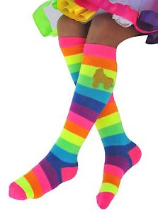 da98c74f216 Image is loading Bubblegum-Divas-Girls-Rainbow-Knee-High-Socks-Roller-